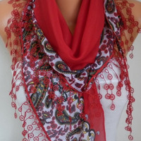 Red Paisley Scarf Cotton Scarf Oversize Scarf Necklace Cowl Scarf Multicolor Gift Ideas for Her Christmas Women Fashion Accessories