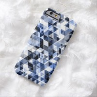 Dark Blue White Black Funky Retro Abstract Triangles Pattern iPhone 6 Case