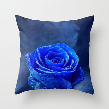 Blue Rose and Blue Sky Throw Pillow by Erika Kaisersot