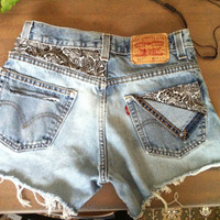 Paisley Patched High Waisted Levi Shorts