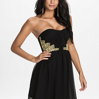 Lace Waist Pleated Dress