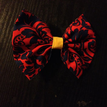 Navy and Red Damask Hair Bow