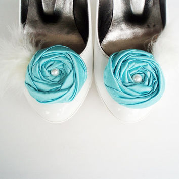 Blue Fabric Roses with Ivory Feather Shoe Clips