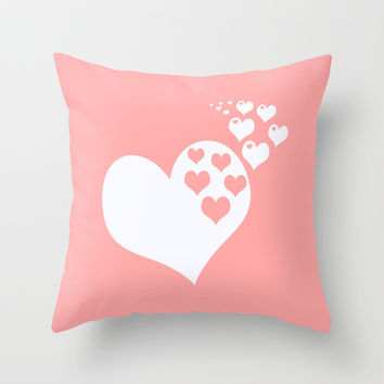 Coral White Hearts of Love Throw Pillow by BeautifulHomes