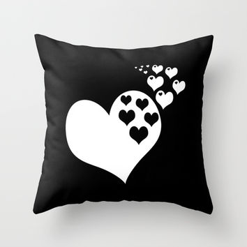 Black & White Hearts of Love Throw Pillow by BeautifulHomes