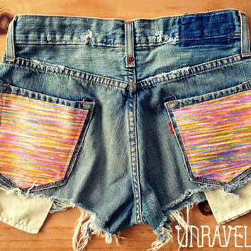 Levi Denim Shorts, Multi Color Tribal Pockets (Size SMALL)