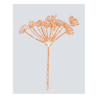 Orange & grey botanical wildflower fine art print 8 x 10