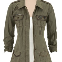 Military jacket with metallic studs