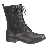 black Colby jeweled combat boot