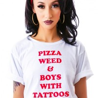 O Mighty Pizza, Weed & Boys Crop Tee White