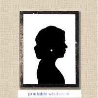 Custom Silhouette printable - nursery silhouettes print portrait wedding art child wall decor poster - Personalized