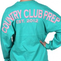 Country Club Prep Jersey in Seafoam and Pink by Spirit Jersey