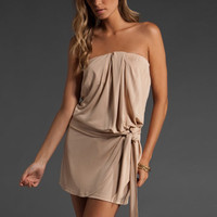 HAUTE HIPPIE Matte Jersey Strapless Dress with Self Belt in Matte Gold at Revolve Clothing - Free Shipping!