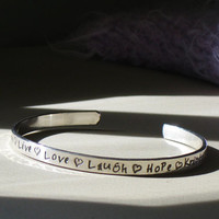 Choose Your Own Words Personalized Sterling Silver Cuff Bracelet Bangle - Christina Guenther