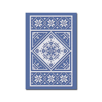 Scandinavian Art Print, minimalist dot pattern of snowflake, hearts and flowers in blue and white
