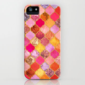 Hot Pink, Gold, Tangerine & Taupe Decorative Moroccan Tile Pattern iPhone & iPod Case by micklyn
