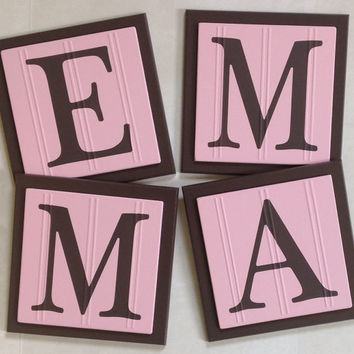 Pink and Brown Baby Girl Nursery, Name Wall Letters Room / Wall Decor, 6 x 6 Personalized Wooden Plaques for EMMA, Baby Shower Gift Ideas