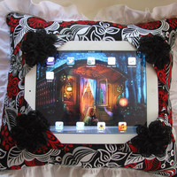 iPad Stand Lap Pillow Hands Free Holder Reader Red White Black Lace Flower