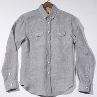Baron Wells safari light charcoal gray linen shirt