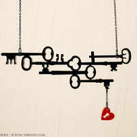Skeleton Keys to my Heart Necklace - Laser Cut Necklace (C.A.B. Fayre ORIGINAL DESIGN)