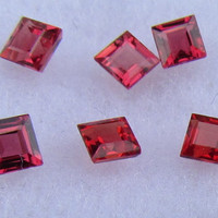 Fine Princess Cut Rubies from Ceylon Top Red Color for Fine Ruby Earrings July Birthstone Gemstone