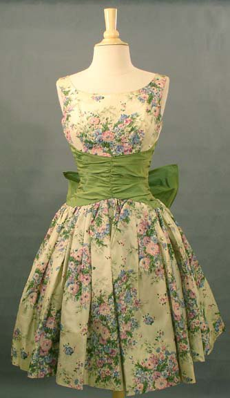 The Sweetest Floral Taffeta 1950's Cocktail Dress VINTAGEOUS VINTAGE CLOTHING