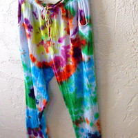 Wideleg colorful tiedye Cotton Beach Pants