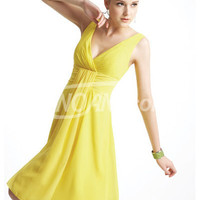 Buy Fabulous A-line Yellow V-neck Knee Length Chiffon Homecoming Dress with 98.99-SinoAnt.com