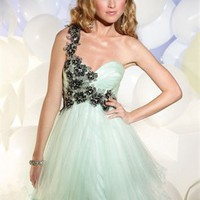 Short A-line One Shoulder Sweetheart Embellished Tulle Prom Dress PD10557 Online Sale