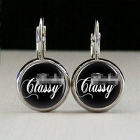 Round Glass Bezel Earrings Mature Fing Classy Earrings Silver (A3565E)