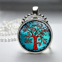 Round Glass Bezel Photo Art Pendant Tree Pendant Tree Necklace With Silver Ball Chain (A3279)