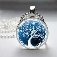 Round Glass Bezel Photo Art Pendant Tree Pendant Tree Necklace With Silver Ball Chain (A3212)