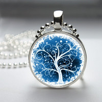 Round Glass Bezel Photo Art Pendant Tree Pendant Tree Necklace With Silver Ball Chain (A3129)