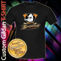 Anaheim Duck NHL Hockey Team Logo Hockey Ace Custom Black T-Shirt
