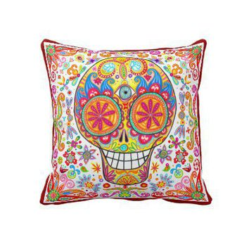 Colorful Funky Day of the Dead Throw Pillow from Zazzle.com