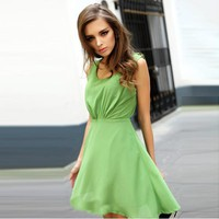 Bqueen Sexy Neckholder Chiffon Green Dress FQ369G - Designer Shoes|Bqueenshoes.com