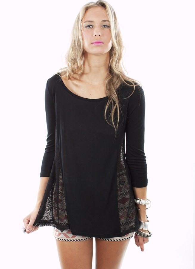 Black Comfortable Long Sleeve Top with Mesh Sides