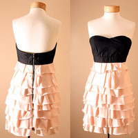 Statement Dress -  Corset, Strapless, Black, Dusty Pink, Princess, Ruffle, Tiered, Dress, Peach, Bustier (S or M)