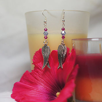 Funky Dangle Earrings - Angel wing and Swarovski crystal pink and lilac fashion beaded dangle earrings