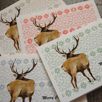 Deer and fair isle Christmas cards, Set of 4 retro style cards, Holiday cards, woodland cards,