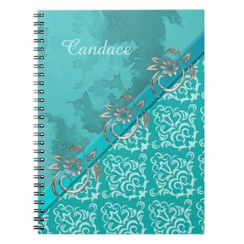 Pretty Teal Damask and Flourishes Journal/Notebook