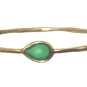 Gold Plated Bangle with Tear Drop Shaped Green Onyx Stones
