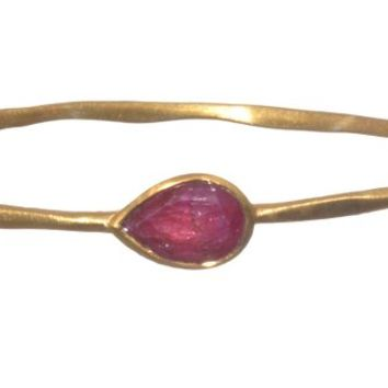 Gold Plated Bangle with Tear Drop Shaped Red Ropada