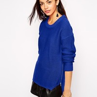 Fashion Union Oversized Jumper With Stepped Hem And Zip Detail at asos.com