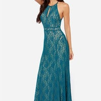 LULUS Exclusive Another Late Night Teal Blue Lace Maxi Dress