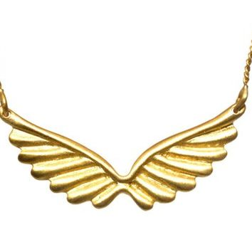Gold Plated Wing Pendant Neckalce