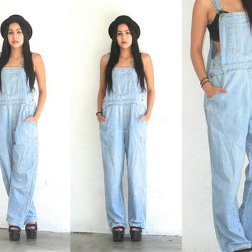 Vintage 90s GAP OVERALLS // Wideleg High Waist Light Wash Denim // Hipster Grunge Boho Gypsy // XS Extra Small / Small / Medium