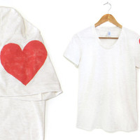 Heart on My Sleeve - Hand Stenciled Scoop Neck Women's Tri Blend Tee in Heather Oatmeal and Red - S M L XL