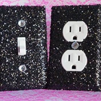 BLACK ROOM DECOR / GIRL'S BEDROOM DÉCOR ***************************************************************************************************** SET OF CHUNKY BLACK GLITTER SWITCH PLATE & OUTLET COVER. ALL Styles Available! ***********************************