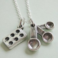Measuring Spoon And Muffin Pan Bakers Necklace